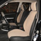 LEATHERETTE & SYNTHETIC TWO FRONT CUSTOM TAN BLACK CAR SEAT COVERS (Fits LAND ROVER FREELANDER-2)