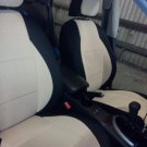 LAND ROVER FREELANDER 2 2006-Now TWO FRONT TAN BLACK VELOUR SYNTHETIC CAR SEAT COVERS