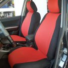 MERCEDES 190 190E 190D MIX LEATHERETTE & SYNTHETIC TWO FRONT CUSTOM RED/BLACK CAR SEAT COVERS