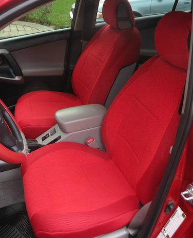 MERCEDES 190 190E 190D 1982-1993 TWO FRONT CUSTOM RED VELOUR SYNTHETIC CAR SEAT COVERS