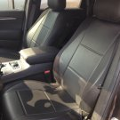 MIX LEATHERETTE & SYNTHETIC TWO FRONT BLACK CAR SEAT COVERS (Fits BMW 3 E36 CONVERTIBLE)