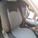 TWO FRONT CUSTOM SYNTHETIC GRAY BLACK CAR SEAT COVERS (Fits VW SCIROCCO 2008-.... )
