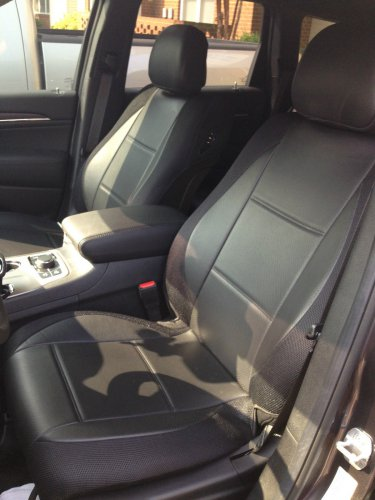 SUBARU XV CROSSTREK MIX LEATHERETTE & SYNTHETIC TWO FRONT CUSTOM BLACK CAR SEAT COVERS