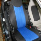 TWO FRONT CUSTOM SYNTHETIC BLUE BLACK CAR SEAT COVERS fits SMART ROADSTER