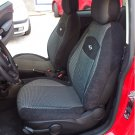 GRAY BLACK FISHNET & BLACK VELOUR TWO FRONT CUSTOM CAR SEAT COVERS (Fits NEW MINI 2001-... )