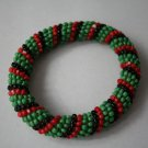 African Jewelry: Green, Red, and Black Beaded Bracelet