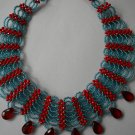 African Jewelry: Blue and Red Woven Necklace
