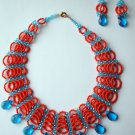 African Jewelry: Blue and Orange Woven Necklace