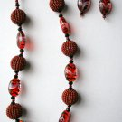 African Jewelry: Red and Black Beaded Ball Necklace
