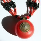 African Jewelry: Red and Black Necklace