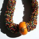 Chunky Multi-Color Necklace with Yellow Center
