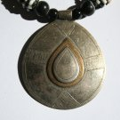 Black and White Necklace with Tear-Drop Shaped Mali Pendant