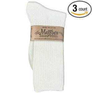 Maggies Functional Organics White Cotton Crew Sock, 9 to 11 Size -- 3 per