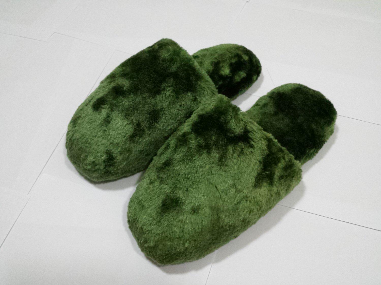 Women Plush Slippers Green NEW $9.99