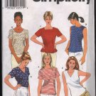 Simplicity 8523 Misses' Woven Pullover Tops SZ 8-12 FF