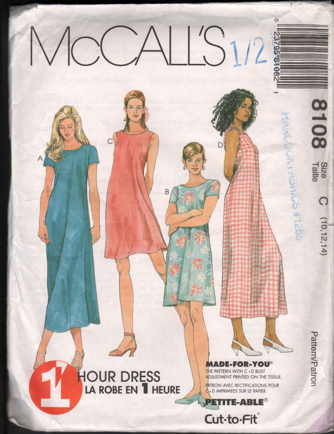 OOP McCall�s 8108  Misses� One Hour Pullover Dress with Four Design Options SZ 10-12  FF