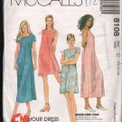 OOP McCall's 8108  Misses' One Hour Pullover Dress with Four Design Options SZ 10-12  FF