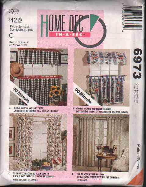 OOP McCall�s 6973 Home Dec In-A-Sec Window Treatments Pattern w/ 4 Options FF