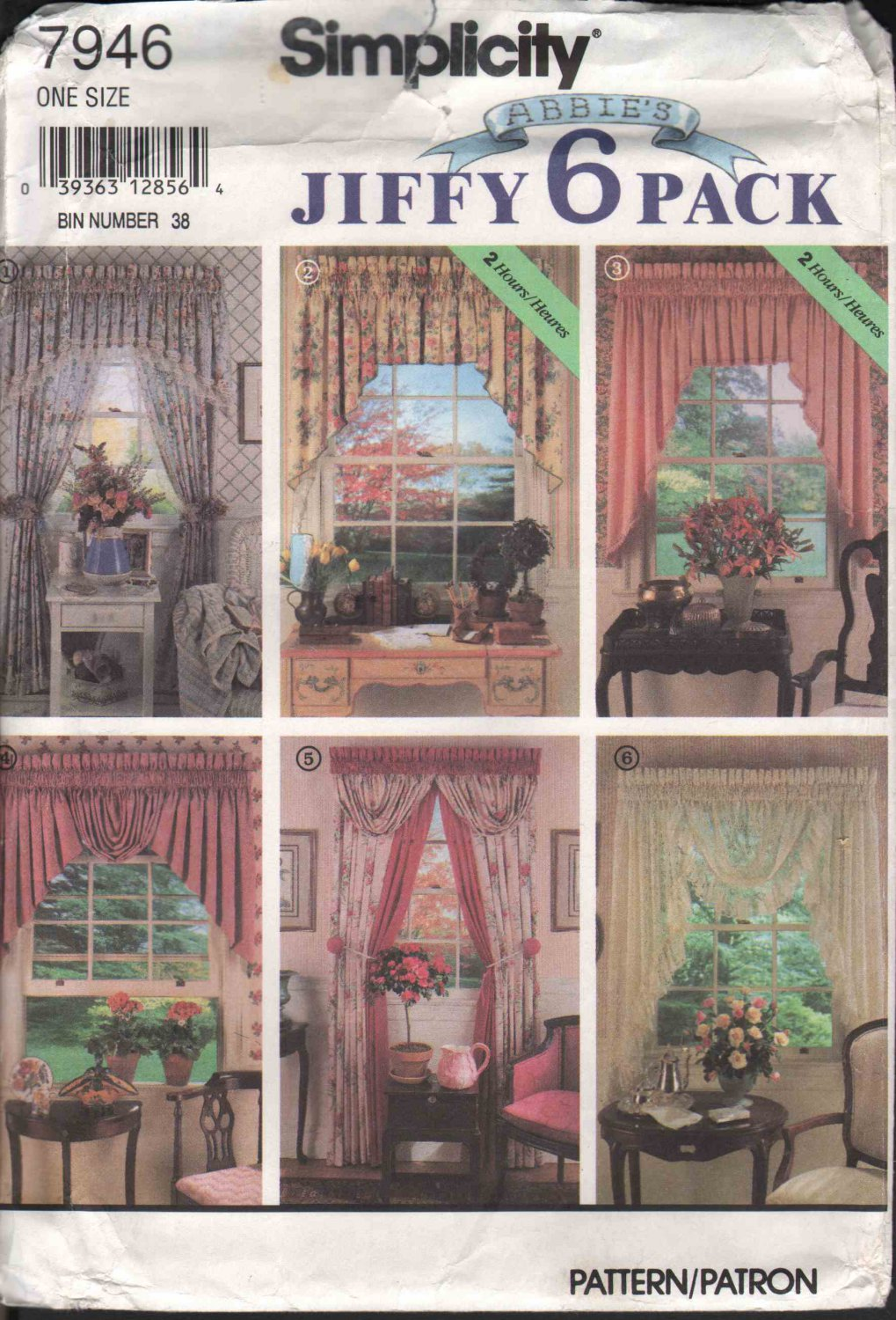 OOP Simplicity 7946 Abbie�s Jiffy 6 Pack Window  Valances,Swags & Festoons  Pattern  FF