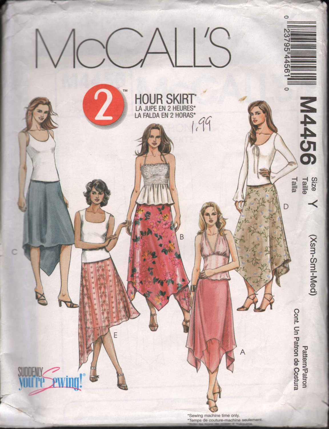 OOP McCall�s 4456 Misses�/Misses PT Pull-On Handkerchief Asymetrical Skirts XS-M  FF