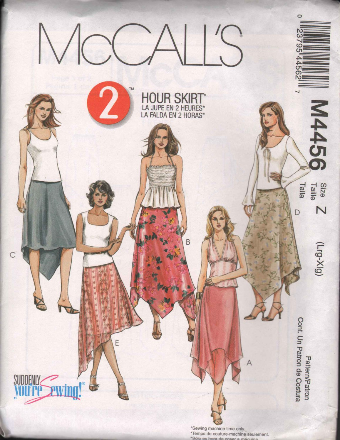 OOP McCall�s 4456 Misses�/Misses PT Pull-On Handkerchief Asymetrical Skirts L-XL  FF