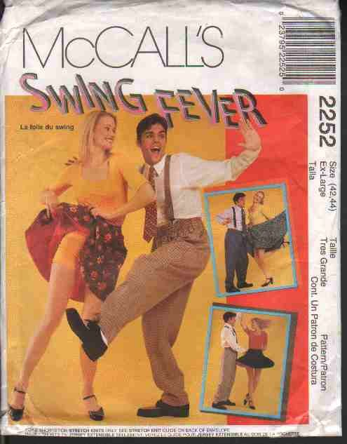 OOP McCall�s 2252  Misses� & Men�s  Swing Dance Costumes  Sz  XL FF