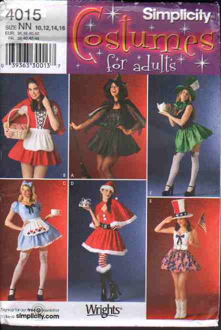 Simplicity 4015 Misses� Sexy Short Skirted Costumes & Hats, Six Dress Design Options Sz 10-16 FF