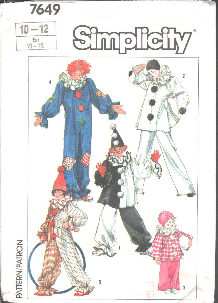 Simplicity 7649  Boys� & Girls� Clown Costumes & Hats Vintage Pattern Sz Fits 10-12  OOP EUC