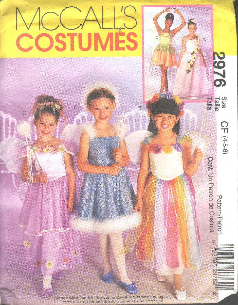 McCall�s 2976 Children�s/Little Girls� Fairy Costumes Pattern Sizes 4-5-6   OOP EUC