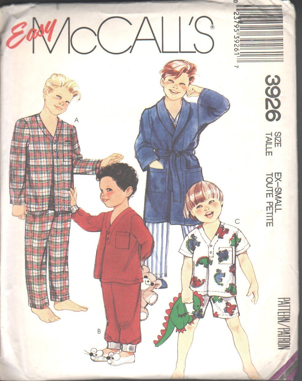 OOP Vintage McCall's 3926  Little Boys�/Childrens� Robe,Tie Belt, & Pajamas SZ X-Small (4-6)FF