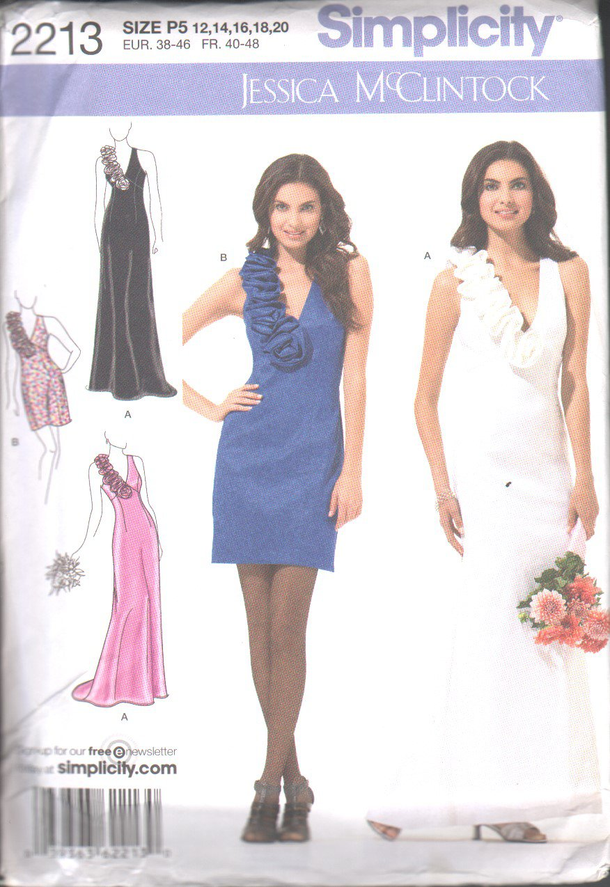 OOP Simplicity 2213 Misses'/Miss Petite Evening Dress Fabric Flowers Two Lengths Pattern SZ 12-20 FF