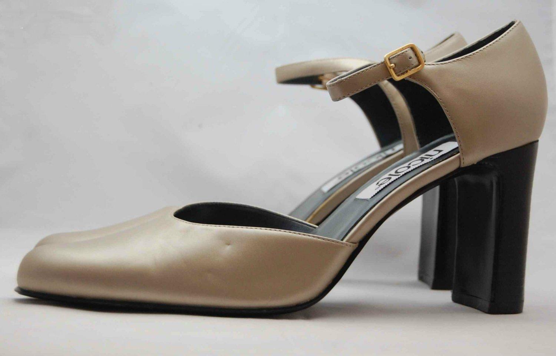 NWOB Nicole Matte Platinum Metallic Ankle Strap Pump 9M