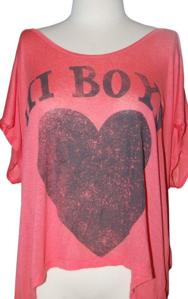 Cali Luv Screenprint Scoop Neck Knit Oversized Hi Lo Stretchy Viscose Trendy T Shirt  Sz XL  NWT