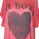 Cali Luv Screenprint Scoop Neck Knit Oversized Hi Lo Stretchy Viscose Trendy T Shirt  Sz XL  NWT