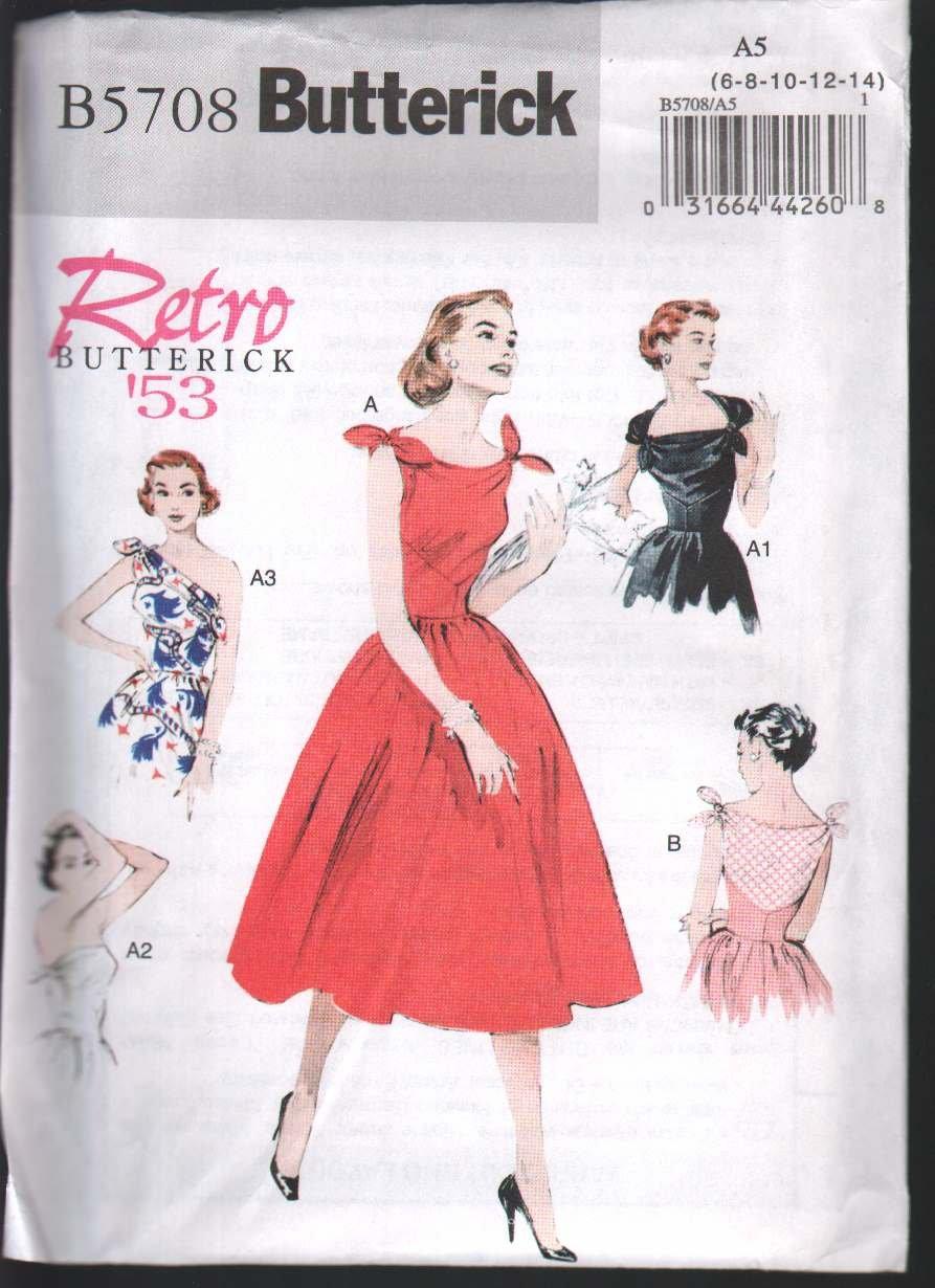 Butterick 5708 Misses' Dress circa 1953 Sz 6-14 ; Uncut/FF