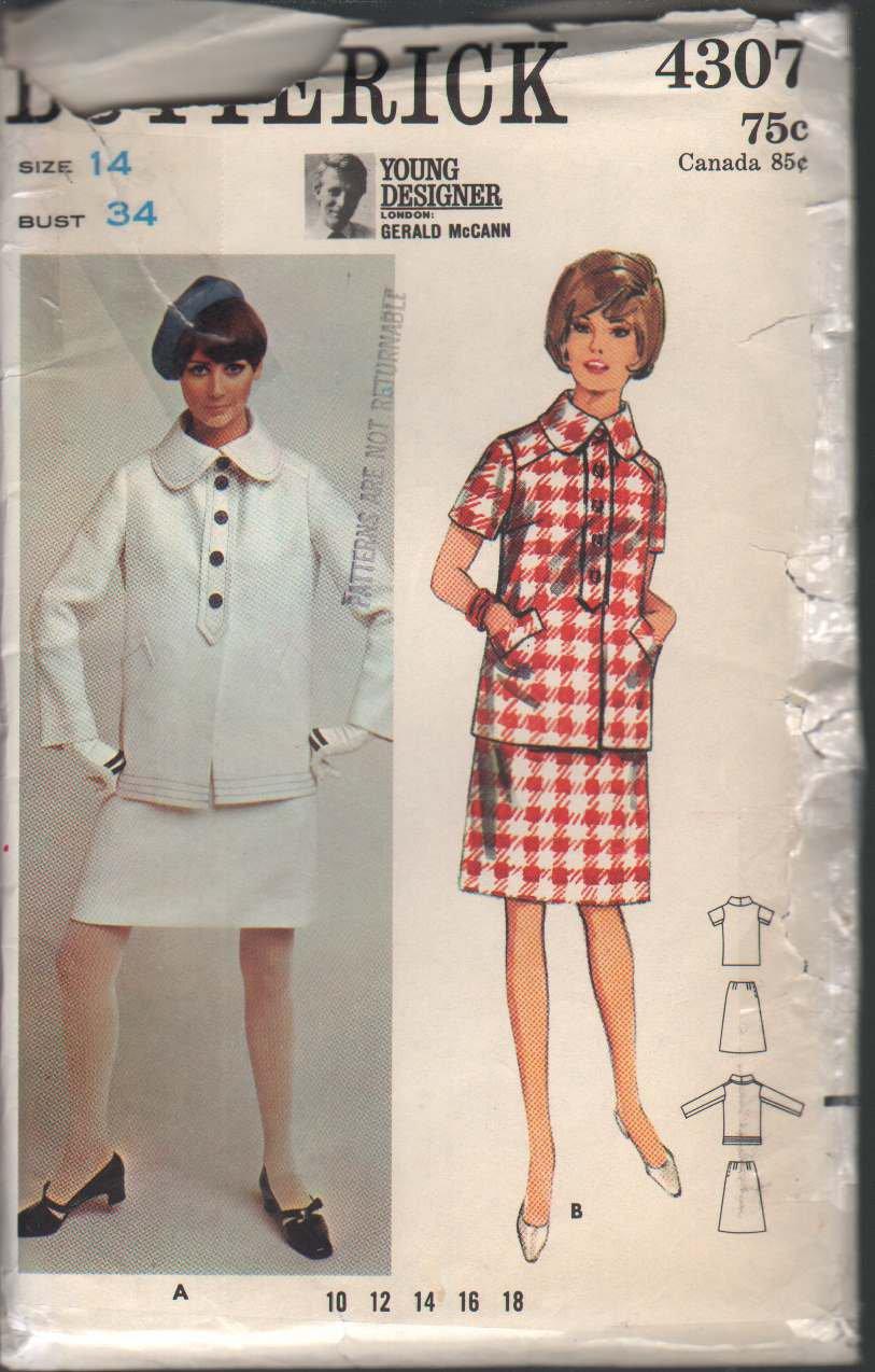 OOP Butterick 4307 Misses' Suit Gerald McCann Young Designer London Collection Size 14 Uncut/FF