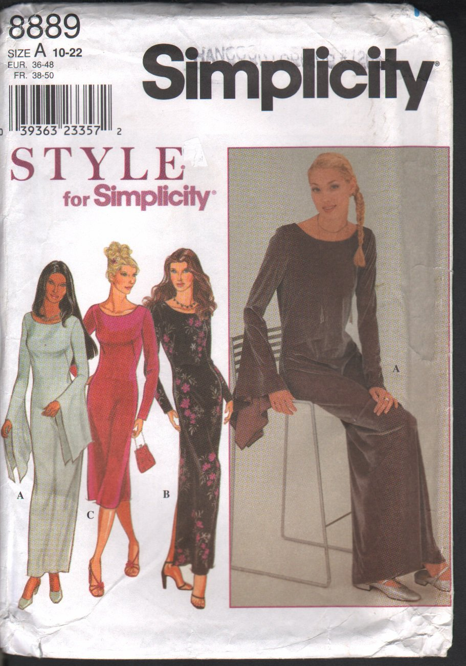 OOP Simplicity 8889 Style Misses' Knit Dress -2 Lengths & Two Sleeve Variations Size 10-22; Uncut/FF