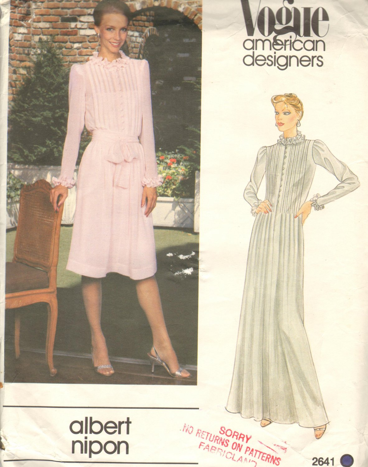 OOP Vogue 2641 American Designer Original Albert Nipon Misses' Dress Sz 12 Uncut/FF