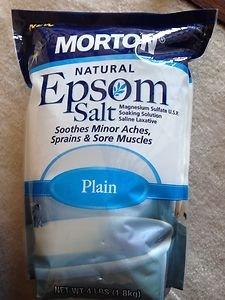 EPSOM SALT~MORTON NATURAL  LARGE 4 Lb bag~ Soothes sore muscles~NEW