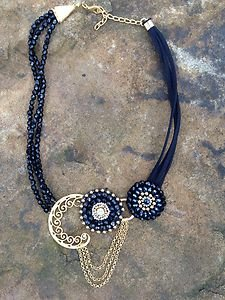 Turkish Jewelry Necklace Crystal beaded Necklace dipped in Buttery ~24k Gold~