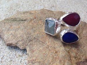 Turkish Jewelry~Triple Stone Ring~Genuine Jade~Made In Turkey~NWT~BEAUTIFUL