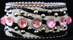 Zebra Print Jewelry Genuine Leather CUFF with Pink Accents~ ~Adjustable NWT!!