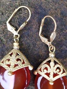 Turkish Jewelry~Earings Orange Carnelian earrings~24KGP OVER BRASS~From Turkey