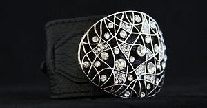 Black Leather Buckle Cuff ~Embellished In Genuine Crystal~NWT