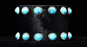 Black & Turquoise Wide Leather CUFF  ~Adjustable NWT!! ~Genuine Hair on Hide~