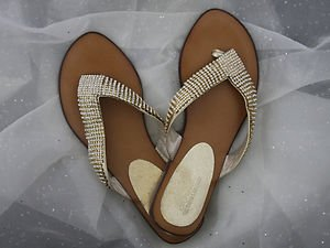 GOLD BLING FLIP FLOP SANDALS Austrian Crystal & Genuine Leather SIZES 6-10 nwt