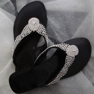 BLACK BLING FLIP FLOP SANDALS Austrian Crystal & Genuine Leather SIZES 6-10 nwt