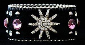 Pink Cowgirl Bling Cuff Bracelet W/ Genuine Leather & Austrian Crystal Star~ NWT