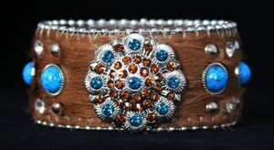 Bling Cowgirl Bracelet~Cuff Brown & Turquoise Genuine Leather & Crystals NWT
