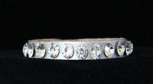 Silver Thin Leather Cuff~Genuine Austrian Crystal Adjustable Bracelet~ NWT CUTE!